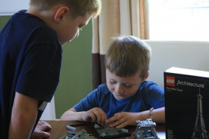 The boys hard at work on their Lego Eiffel Tower.  The instruction booklet had excellent details on the history and construction of the tower.